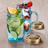 意大利进口波米欧利梅森杯公鸡杯带盖把杯创意玻璃罐果汁瓶水杯