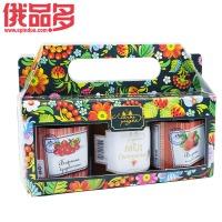 森林牌 林中草原 六菱白盖 礼盒装果酱(草莓味,越橘味,荞麦蜂蜜味)玻璃瓶装(230×2+250)g