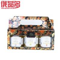 森林草原 礼盒装三罐装蜂蜜(合欢花蜜,椴树蜜,荞麦蜜)玻璃瓶装(250×3)g