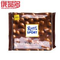 瑞特斯波德 Ritter sport    整颗榛仁牛奶巧克力100g